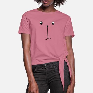 Emoji Simple Funny Line Drawing Face-kate-Cat - Women's Knotted T-Shirt