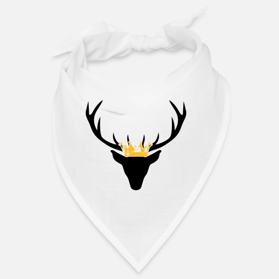 Stag Bandanas - Stag with crown - Bandana white