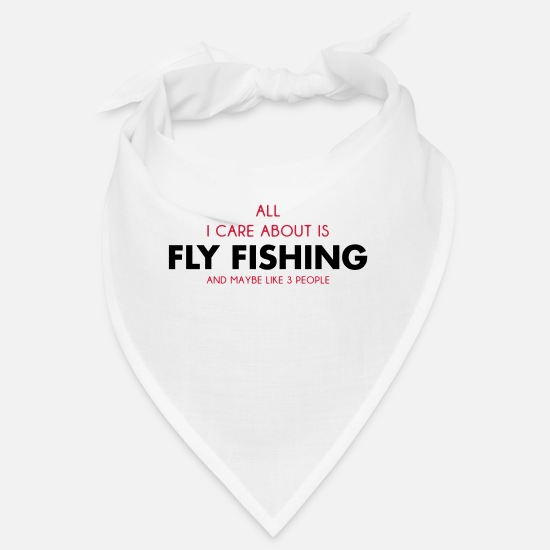 Crook Bandanas - all i care about is fly fishing - Bandana white