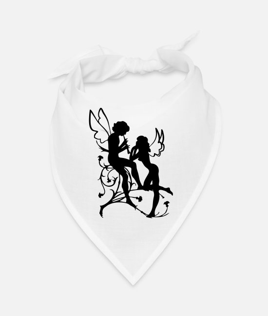 Loyal Romance Roses Bandanas - Angel, fairy, elf, magic, silhouette vector - Bandana white
