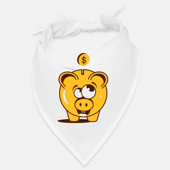 Monetary Bandanas - A funny piggy bank with a dollar - Bandana white