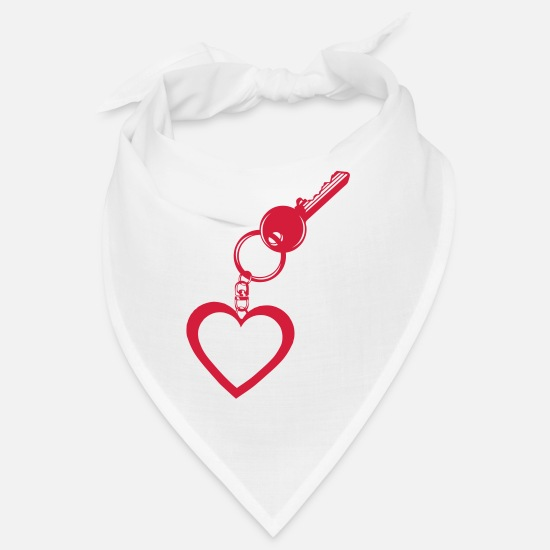 Love Bandanas - door key heart key love key 1 - Bandana white