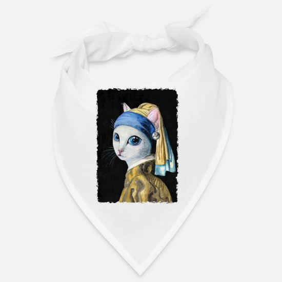 Earring Bandanas - Cat with a Pearl Earring - Bandana white