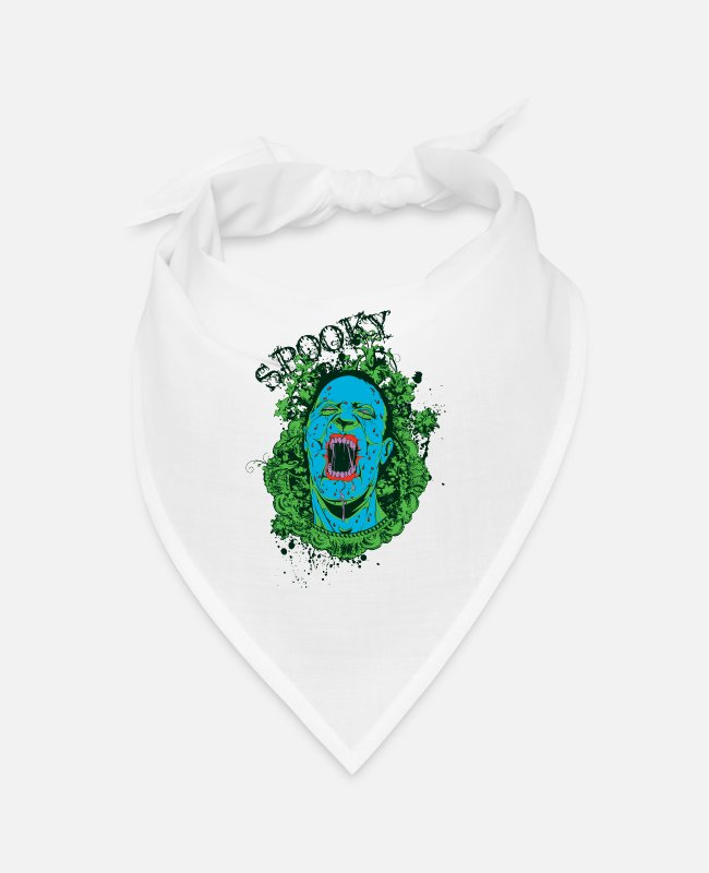 Scary Monster Bandanas - SPOOKY Halloween Zombie Goth Design - Bandana white