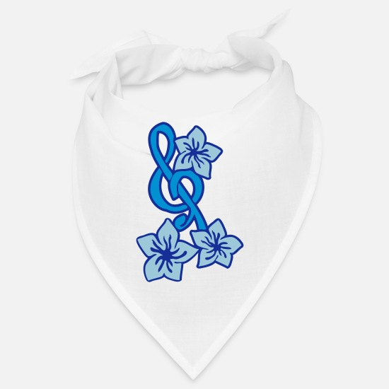 Blume Bandanas - Music Key Flower - Bandana white