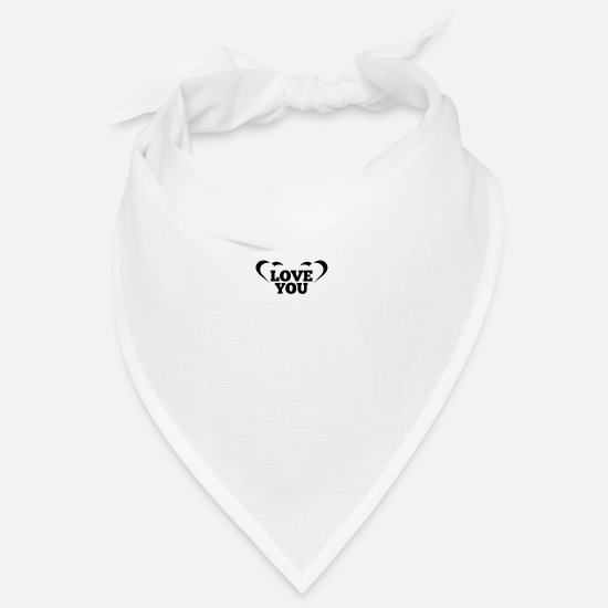 Love Bandanas - LOVE YOU with heart - Bandana white