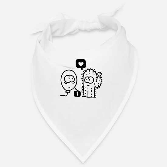 Love Bandanas - Cactus Air Balloon - line - Bandana white