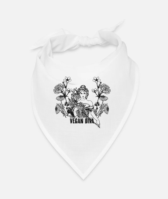 Animal Welfare Bandanas - Vegan Diva - lady with flowers - Bandana white