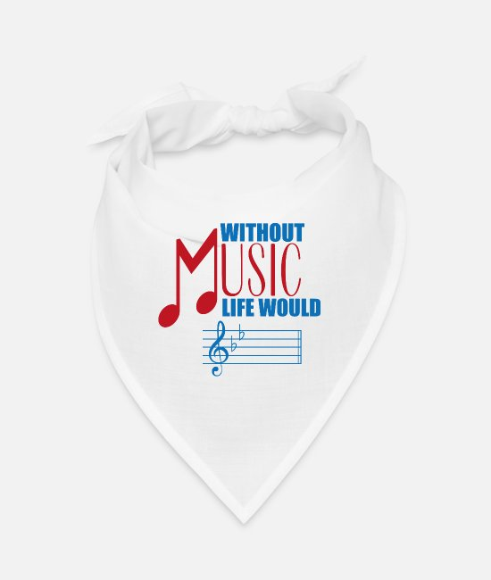 Guitar Bandanas - Without Music Life Would Rock Guitar Music - Bandana white