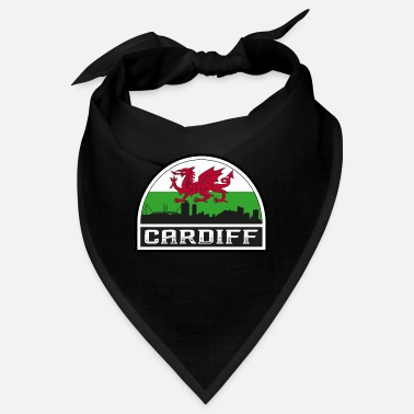 Kingdom Cardiff Wales Skyline Silhouette Welsh Flag Travel - Bandana
