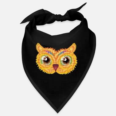Jewelry abstract owl head made of floral shapes - Bandana