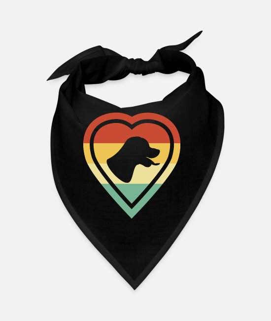Heart Bandanas - Retro Heart Retro Vintage Rottweiler Dog Love - Bandana black