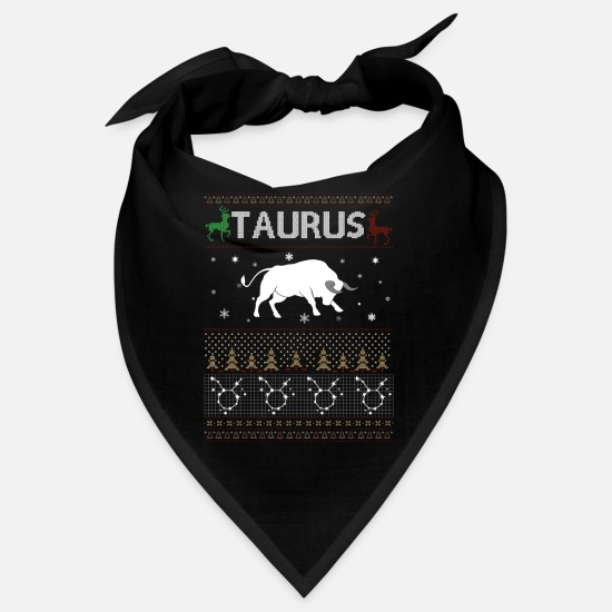 Birthday Bandanas - Taurus Christmas Ugly Sweater - Bandana black