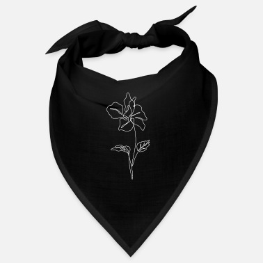 Plain Line Art Flower Plain Minimalist - Bandana