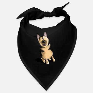 Drawing Funny german shepherd dog cartoon dog motif - Bandana
