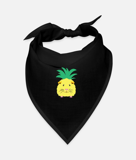 Floofy Bandanas - Yellow pineapple guinea pig - Bandana black