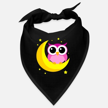 Nattevågen Pink Owl On Moon Cartoon Nattlig Bird Lover Cool - Bandana