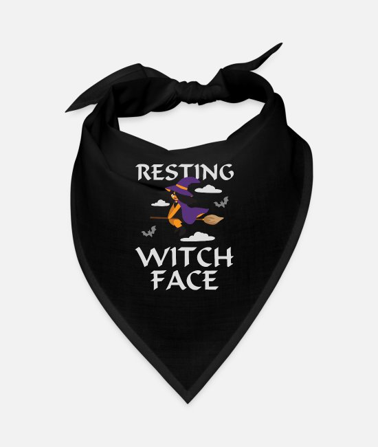 Quote Bandanas - Resting Witch Face Evil Eye Facial Expression - Bandana black