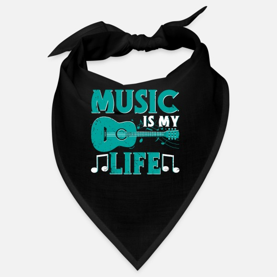 Gift Idea Bandanas - Music is my life graphic - Bandana black