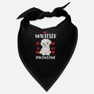 Beady Eyes Sweet Maltese White Puppy for Valentine's Day - Bandana