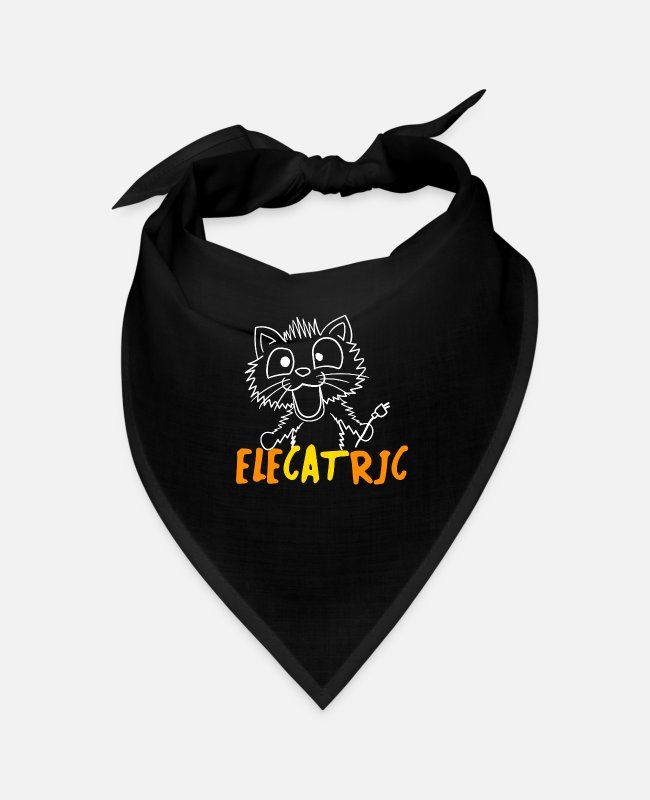 Shock Bandanas - Furry cat feels the sparky spark on his body - Bandana black