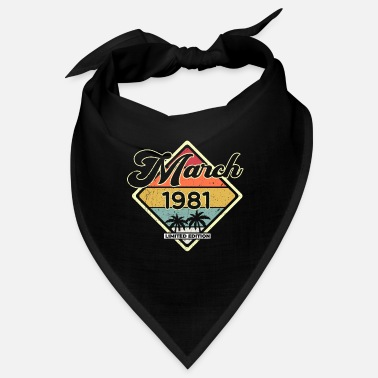 Happiness Vintage March 40 Years 1981 40th Birthday Gift - Bandana