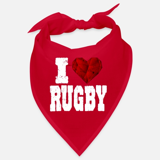 Love Bandanas - Rugby i love spruch heart love love - Bandana red