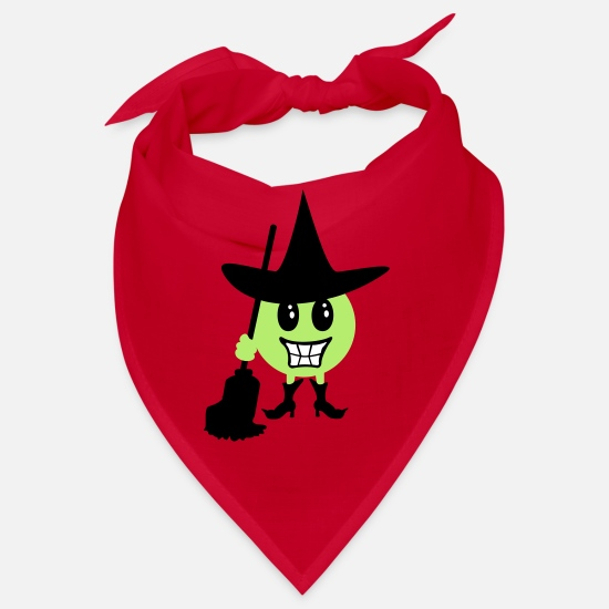 Pinsel Bandanas - Hexe Emoticon / Witch Halloween Emoji (b, 3c) - Bandana Rot