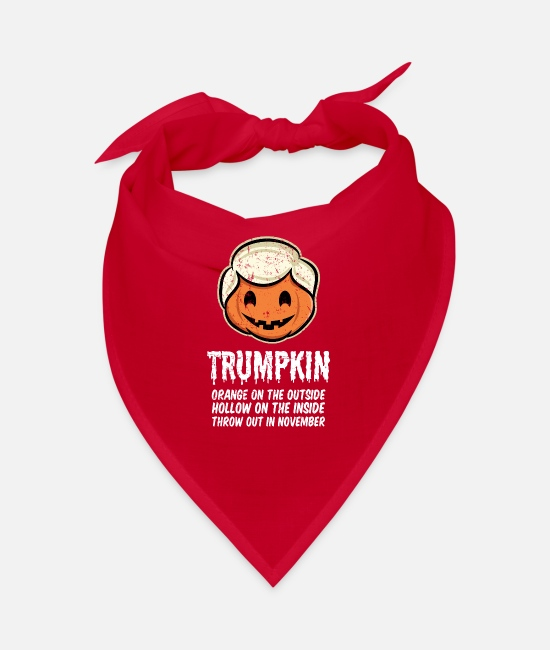 Halloween Costume Bandanas - Trumpkin Orange on the outside Hollow on the - Bandana red