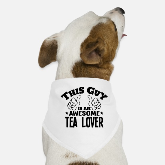 Awesome Bandanas - this guy is an awesome tea lover - Dog Bandana white