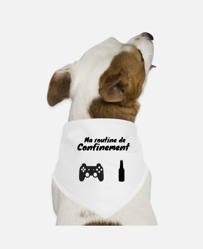 Video Game Bandanas - Coronavirus Containment de-containment humor - Dog Bandana white