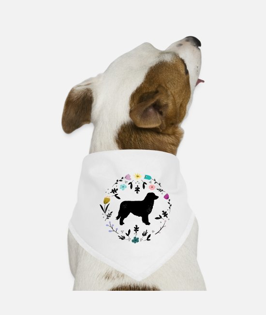 Aussie Bandanas - Aussie with flowers - Dog Bandana white