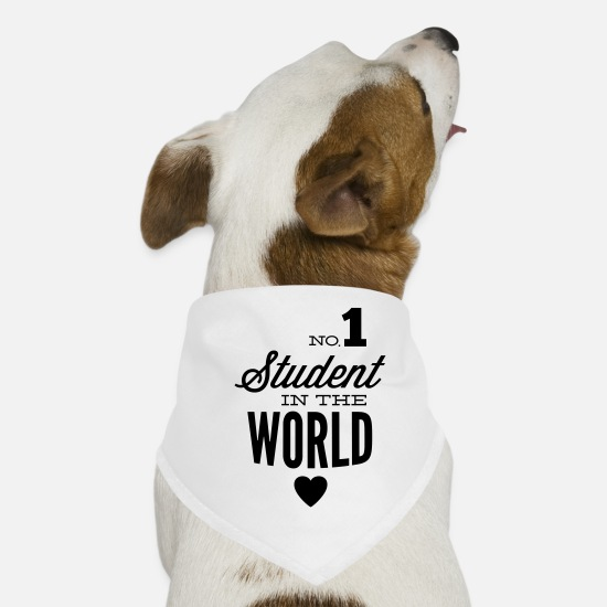 College Bandanas - Best student of the world - Dog Bandana white