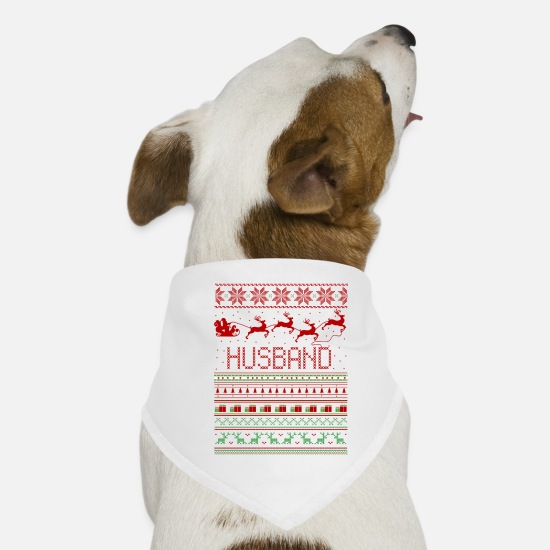 Husband Bandanas - Husband Ugly Christmas Sweater Xmas - Dog Bandana white