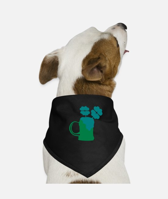 st patricks day Bandanas - Green beer shamrock st.patrick's day - Dog Bandana black