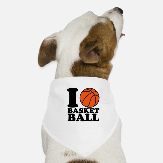 Basketball Bandanas - I Love Basketball - Bandana pour chien blanc
