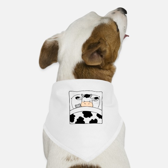 Bed Bandanas - Cow in Bed - Dog Bandana white