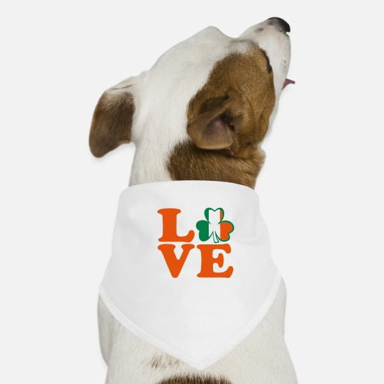 I Am In Love With Irish People Ireland UK Vector Irish Font Design With Romantic Heart For Irish Clo Bandanas - ♥ټ☘I Love Irish-Ireland-Happy St Patty's Day☘ټ♥ - Dog Bandana white