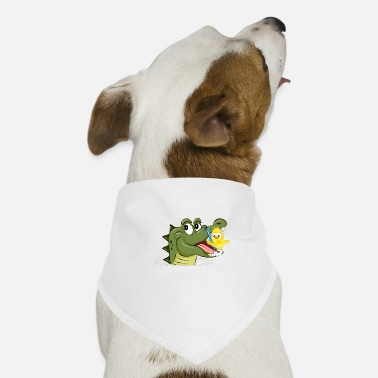 Crocodile and yellow bird in dental care - Dog Bandana