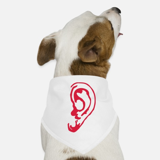Pop Bandanas - Ear - Listen - Sound - Music - Disco - Dog Bandana white