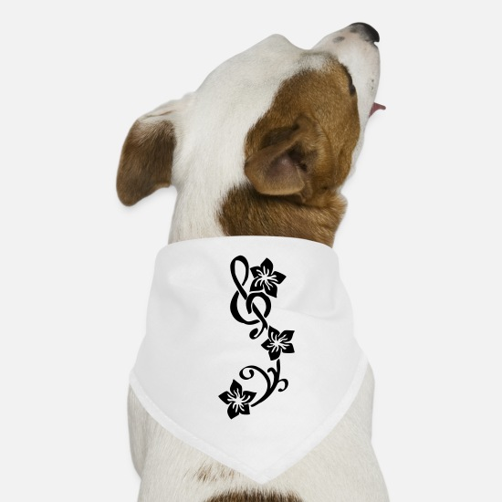 Blume Bandanas - Music Key Flower - Dog Bandana white
