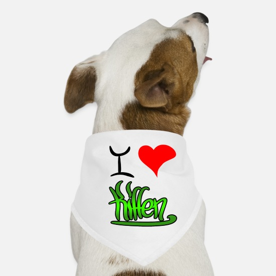 Love Bandanas - i love smoking - Dog Bandana white