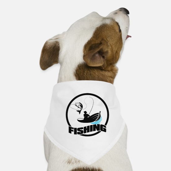Bait Bandanas - boat fish fisherman fishing rod bait sport - Dog Bandana white
