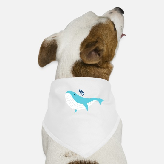 Trendy Bandanas - Cute Blue Whale Ocean Whale Lover - Dog Bandana white