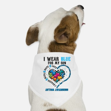 I-love-the-blues I Wear Blue For My Son Autism Awareness - Hunde-Bandana