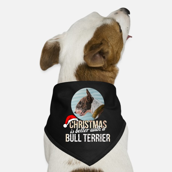 Bull Terrier T Shirt Bandanas - Bull terrier - Christmas is better with a Bull - Dog Bandana black