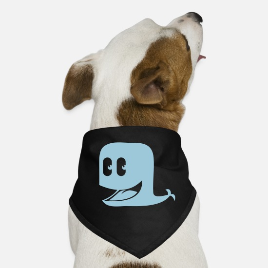 Waves Bandanas - Cool happy smiley Blue whale - Dog Bandana black