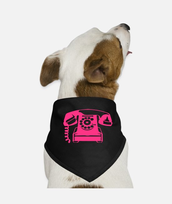Phone Bandanas - old phone pink phone 606 - Dog Bandana black