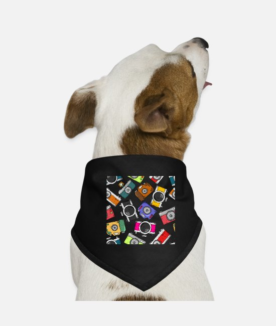 Photography Bandanas - Illustration pattern photography camera - Dog Bandana black