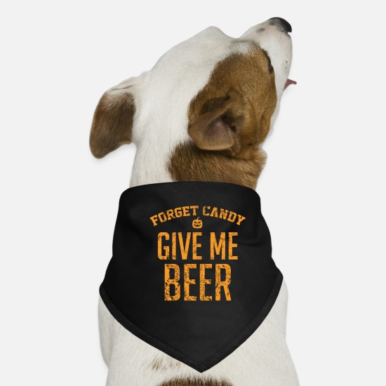 Trick Or Treat Bandanas - Forget Candy Give Me Beer - Dog Bandana black
